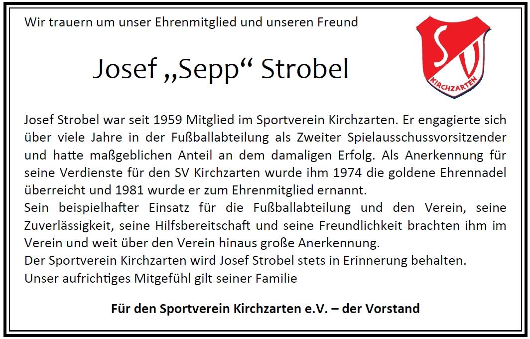 """Trauer um Josef """"Sepp"""" Strobel"""