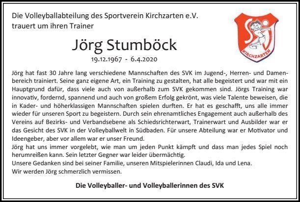 Wir trauern um Jörg Stumböck